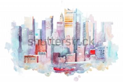 Sticker Dessin à l'aquarelle du paysage urbain de New York, États-Unis. Aquarelle de Manhattan