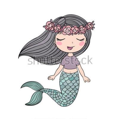 Sticker Dessin animé belle petite sirène dans une couronne. Sirène. Thème de la mer. illustration vectorielle sur fond blanc.