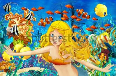 Sticker Dessin animé de l'océan et la sirène dans le royaume sous-marin nageant avec les poissons - illustration pour enfants