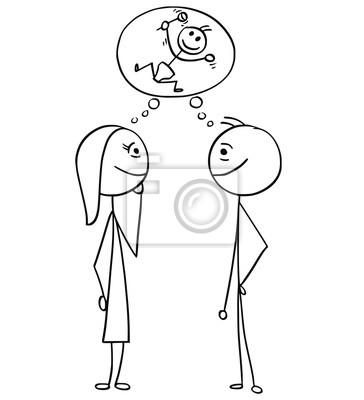 Sticker Dessin Animé De Vecteur Dun Homme Et Dune Femme Pensant Planifier