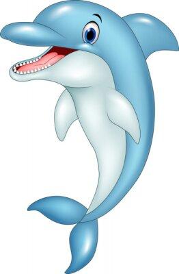 Sticker Dessin animé, drôle, dauphin, Sauter