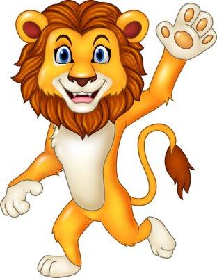 Sticker Dessin animé, drôle, lion, onduler