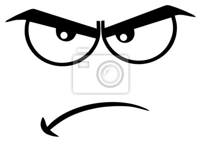 Sticker Dessin Animé En Colère Noir Et Blanc Visage Drôle Avec Lexpression