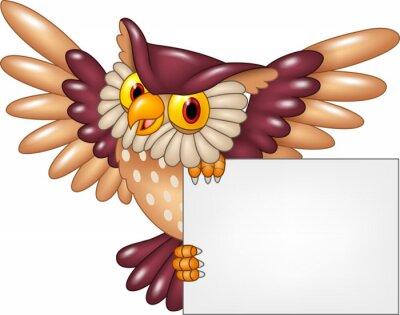Sticker Dessin animé, hibou, oiseau, voler, tenue, vide ...