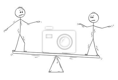 Dessin Balançoire dessin animé homme bâton dessin illustration conceptuelle de