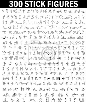 Sticker Dessin animé icônes ensemble de 300 croquis peu gens bâton figure