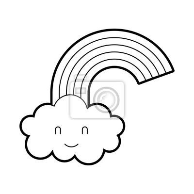Dessin Anime Jolie Nuage Darc En Ciel Baby Shower Image Illustration Autocollants Murales Inviter Arrivee Accueil Myloview Fr