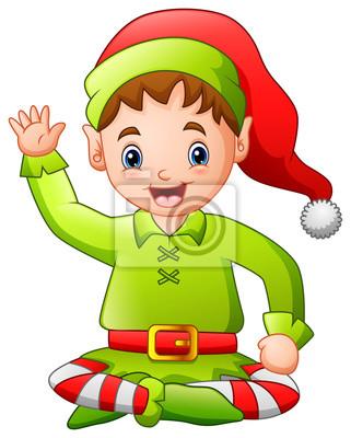 Dessin Anime Joyeux Noel Elf Assis Stickers Pc Portable