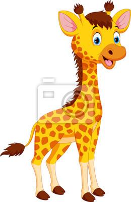 Dessin Anime Mignon Girafe Isole Sur Fond Blanc Autocollants Murales Veau Mascotte Cou Myloview Fr