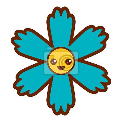 Sticker Dessin Animé Mignon Kawaii Fleur Bleue
