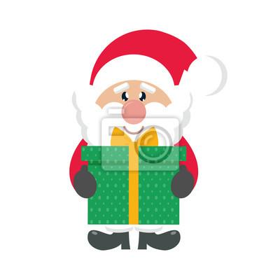 Sticker Dessin Animé Mignon Père Noël Avec Cadeau