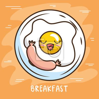 Sticker Dessin Animé Mignon Petit Déjeuner Kawaii Dessin Animé Vector