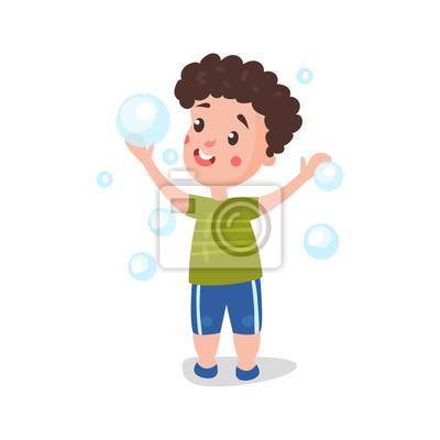 Sticker Dessin Animé Mignon Petit Garçon Samuser à Jouer Avec Des Bulles