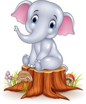 Sticker Dessin animé, rigolote, bébé, éléphant, séance, arbre, souche