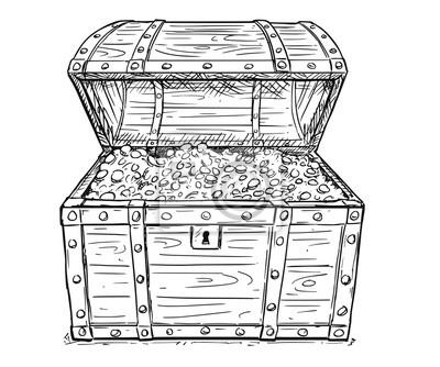 Dessin anim vecteur doodle dessin illustration de vieux - Dessin de coffre de pirate ...
