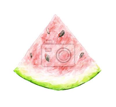 dessin aquarelle d'une tranche de pastèque