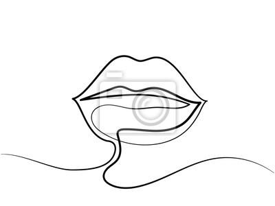 Dessin Au Trait Continu Logo De Levres De Belle Femme Illustration