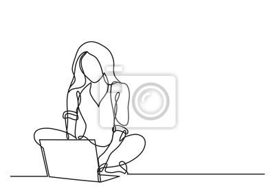 Sticker dessin continu de femme avec ordinateur portable