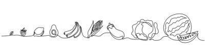 Sticker Dessin continu sur une ligne. Légumes de taille différente de petite à grande. Illustration vectorielle