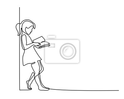 Sticker Dessin continu sur une ligne. Livre de lecture fille. Retour au concept d'école. Illustration vectorielle