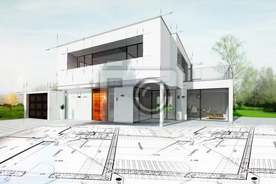 Sticker Dessin d'une maison d'architecte avec plan