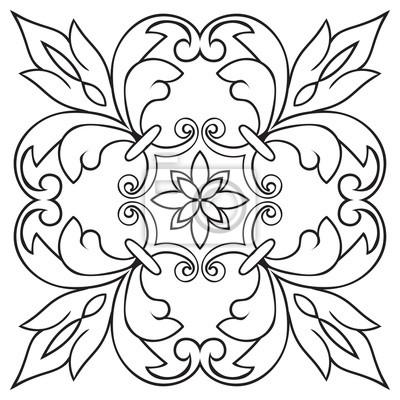 Sticker Dessin De Dessin à La Main Pour Carreaux En Couleurs Noir Et