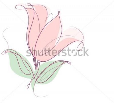 Sticker Dessin de graphiques vectoriels avec des motifs floraux avec des tulipes pour la conception. Design naturel de fleur floral. Graphique, dessin de croquis. tulipe.
