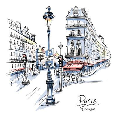 Sticker Dessin de main de vecteur. Rue parisienne avec maisons traditionnelles et lanternes, Paris, France.