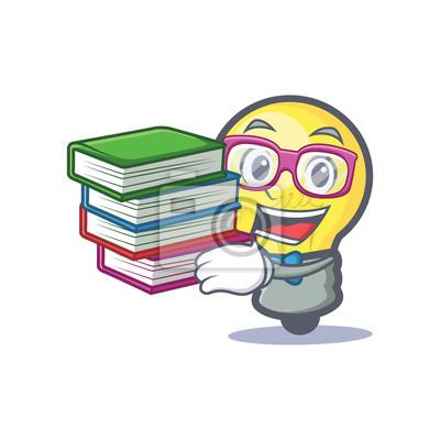 Sticker Dessin De Personnage De Lampoule A Leleve Avec Un Livre