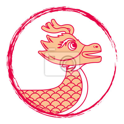 Dessin Dragon Rouge Chinois Symbole Illustration Vectorielle