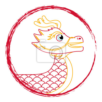 Dessin Dragon Rouge Chinois Symbole Vector Illustration Dessin
