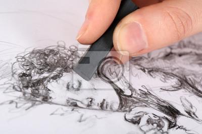 Sticker Dessin image de charbon de dessin isolé sur blanc