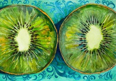 Sticker Dessiner une aquarelle sur papier, des fruits, kiwi