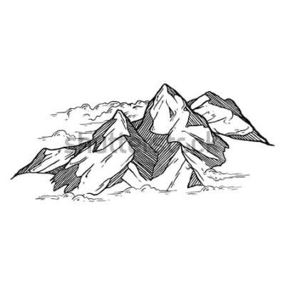 Sticker dessinés à la main des montagnes vecteur iluustration