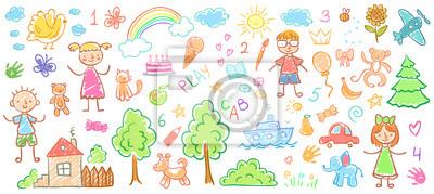 Sticker Dessins d'enfants. Enfants doodle peintures, crayon enfants dessin et illustration vectorielle kid dessinés à la main
