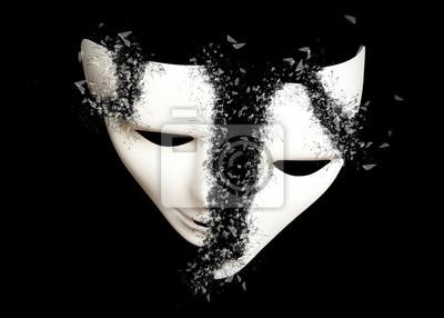 Sticker Destruction. Masque de théâtre blanc