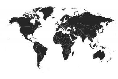 Sticker Detailed, high resolution, accurate vector map of the world