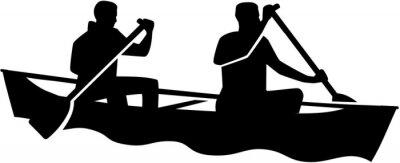 Deux hommes en canot. Canoë-kayak.