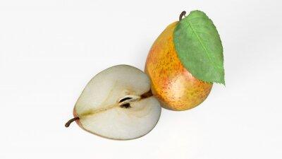 Sticker Deux, poires, une, tranché, moitié, fruit, isolé, blanc, fond