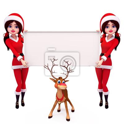 deux santa girl avec le signe et le renne