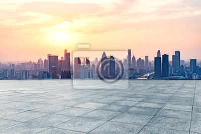 Sticker Devant carré vide de l'horizon de la ville de tianjin, en Chine.