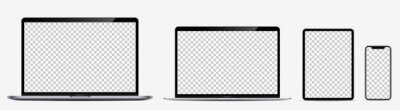 Sticker Device screen mockup. Laptop pro and thin, tablet and smartphone silver colors with blank screens for you design. Realistic vector illustration.