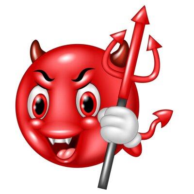 Diable De Bande Dessinee Avec Le Trident Emoticone Isole Sur Autocollants Murales Scarey Emoticones Malveillants Myloview Fr