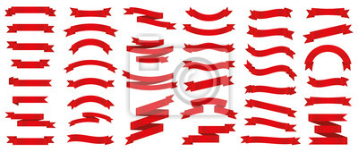 Sticker Different red ribbons banners collection. Vector illustration