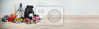 Sticker Different Type Of Sports Equipment On Wooden Desk