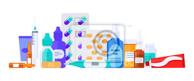 Sticker Different types of medicaments, drugs, pills and bottles. Flat vector illustration isolated on white. Healthcare items.