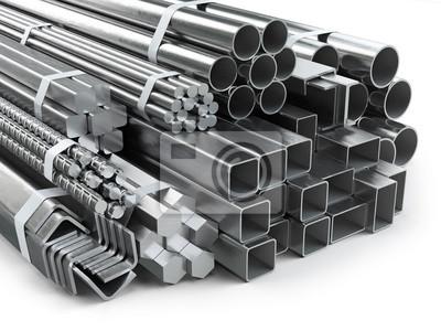 Sticker Différents produits métalliques. Profilés et tubes en acier inoxydable.