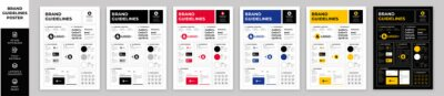 Sticker DIN A3 Brand Guidelines Poster Layout Set, Brand Manual Templates, Simple style and modern layout Brand Style, Brand Identity, Brand Guidelines