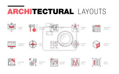 Sticker Dispositions architecturales dans la composition de la ligne polygonale à la mode. Petites icônes des bâtiments. Dessin de projets professionnels. Superbe style de géométrie de contour avec un pictogr