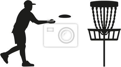 Disque, golf, joueur, lancer, disque, panier